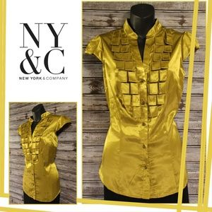 3/30<>Gold Pleat Girl Boss Blouse by NY & Co